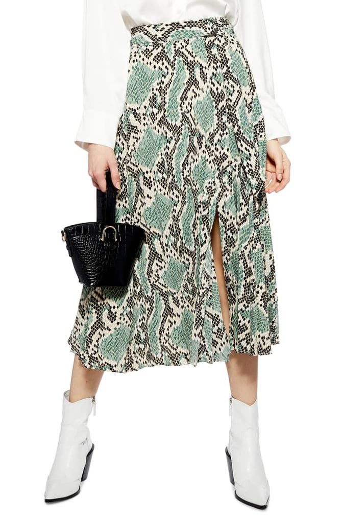 Topshop Python Print Pleat Midi Skirt