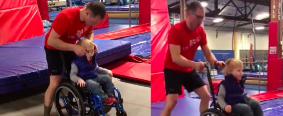 Video of Boy in Wheelchair Jumping on Trampoline