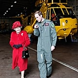 Prince William escorted his grandmother as she visited the RAF Valley in 2011.