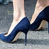 She Wore Navy Suede Manolo Blahnik Heels