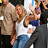 Beyoncé Knowles waved while filming her new music video at Coney Island.