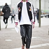 Olivia Palermo in a Topshop jacket at London Fashion Week.