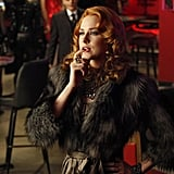 The Queen, contemplative in a fabulous fur. Evan Rachel Wood is perfect for this role, elegant but mischievous.