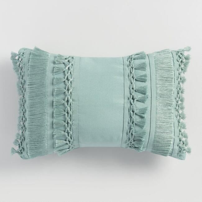 Jadeite Fringe Indoor Outdoor Lumbar Pillow