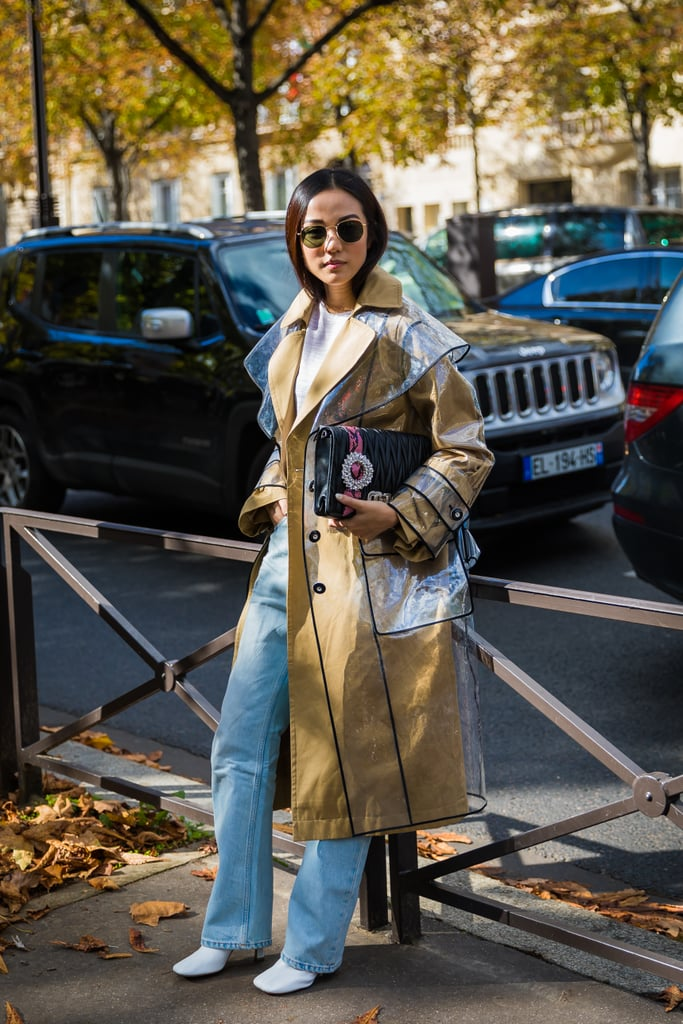 Wear It Under a Standout PVC Coat With White Booties