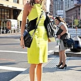 A citron Proenza Schouler dress and embellished sandals are pure fashion fun.