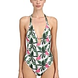MC2 Saint Barth Flamingo Palm Print One Piece Swimsuit