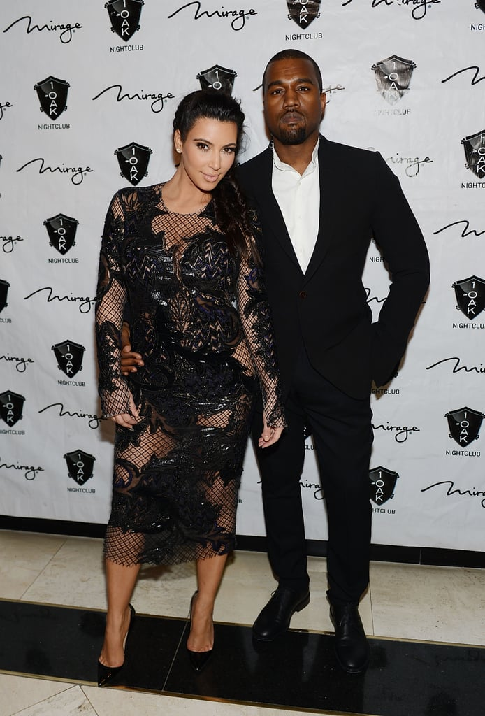 She showed off her growing baby bump when she and Kanye attended a New Year's Eve party at The Mirage in Las Vegas in December 2012.
