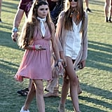 Kaia joined friend Olivia Giannulli, walking the festival in a crisp white romper and a scarf to finish it all off.