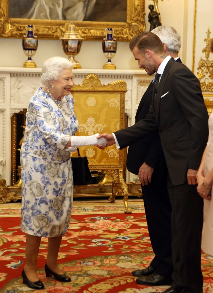 Queen Elizabeth and David Beckham in London June 2016