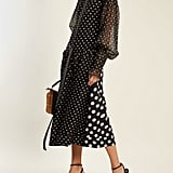 Loewe Polka Dot Print Smocked Silk and Cotton Dress