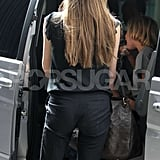 Angelina's hair is getting long.