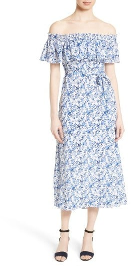 Rebecca Taylor Women's Off The Shoulder Midi Dress