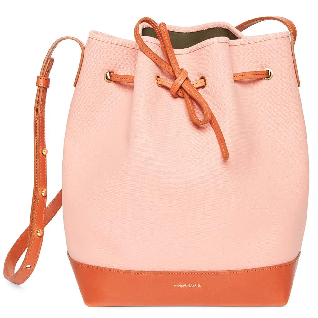 f0b76e5ce Mansur Gavriel Canvas Bucket Bag in Blush With Moss ($445)   Spring ...