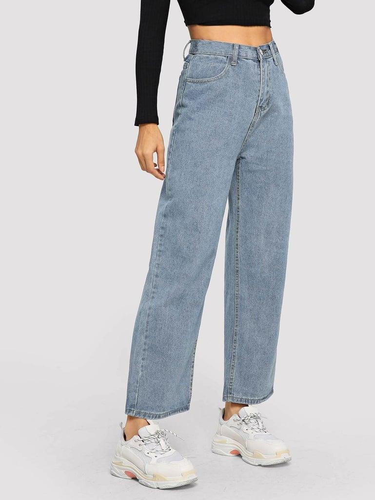 Shein Light Wash Pocket Detail Wide Leg Jeans