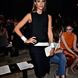 Jessica Alba was so sleek, so chic in a black-and-white Narciso Rodriguez dress at the designer's Spring 2014 show in NYC. We couldn't think of better add-ons than her white clutch, white cuff bracelet, and white pointy pumps.