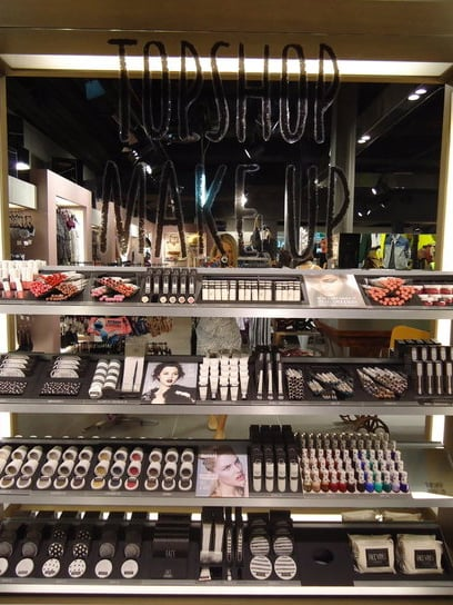 The Topshop Make Up bar is situated within the underwear section.