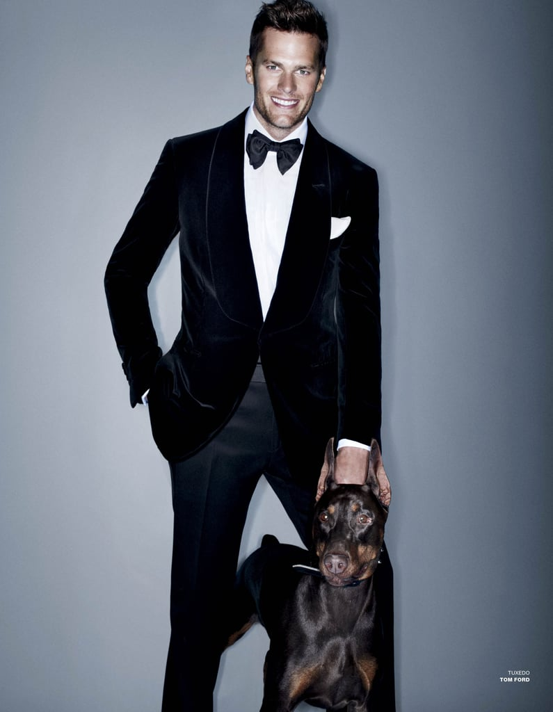 Tom Brady sported a tux and made a furry friend at a photo shoot for the Fall issue of VMan.
