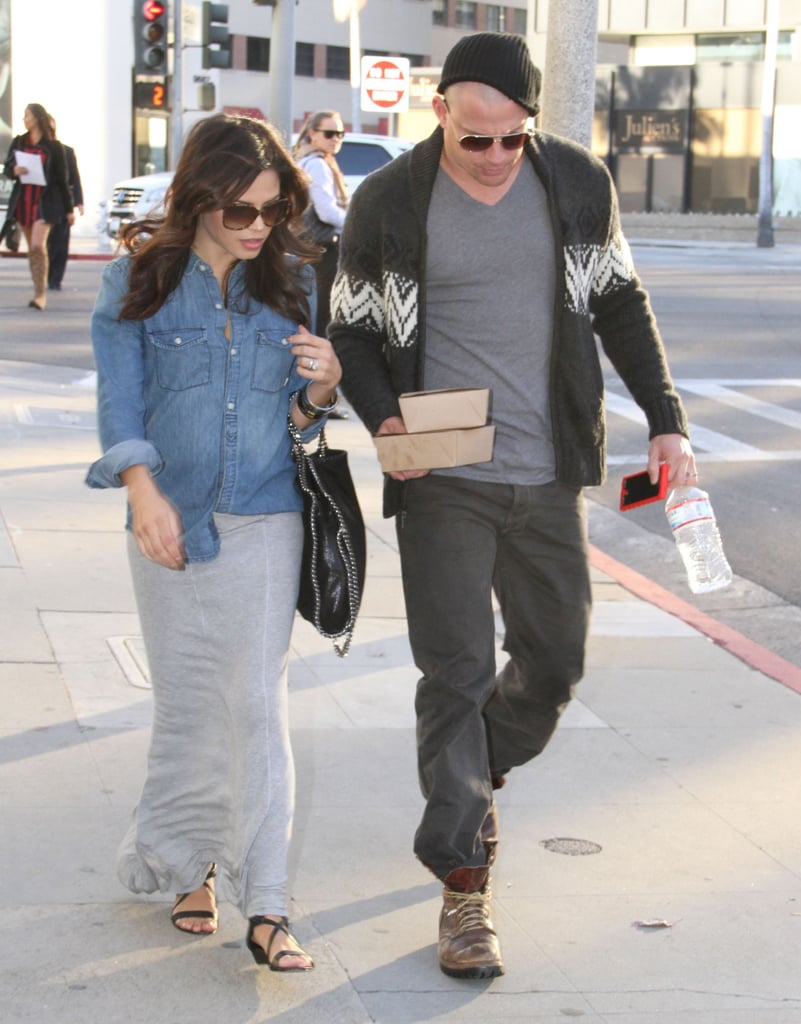 Channing Tatum grabbed lunch with Jenna Dewan in Beverly Hills yesterday. Channing recently shaved his head and gave a glimpse of his new hairdo under a knit cap. The couple is back in LA after a holiday getaway to St. Barts, where pregnant Jenna Dewan wore a bikini for walks on the beach with Channing.  They both took advantage of the chance to get away between projects. Channing spent the tail end of 2012 in Pittsburgh on the set of Foxcatcher. Jenna, meanwhile, saw her Lifetime movie She Made Them Do It air in December. Now, they're both looking forward to the joint project of expanding their family in 2013.