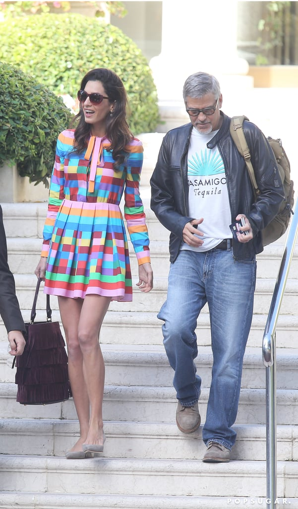 Amal Left Her Cannes Hotel Wearing a Multicolored Valentino Dress