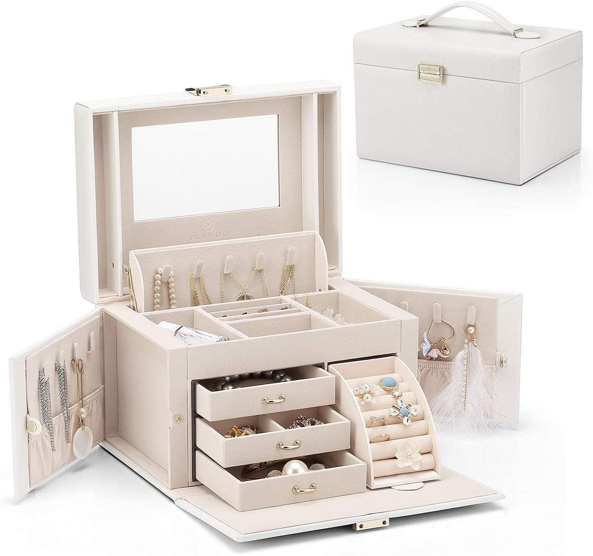 Homeanda Jewellery Box PU Leather Jewelry Case and Display Case 2 Layers with Mirror for Rings Earrings Necklace,Bracelets Organizer Jewelry Storage Boxes