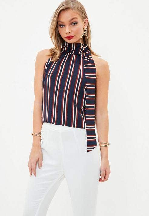 Missguided Navy Tie Halter Neck Stripe Crop Top