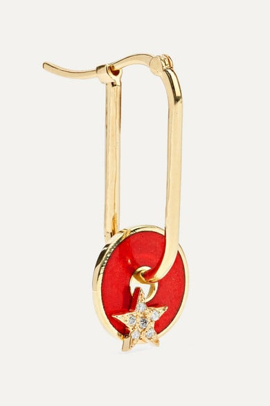 Foundrae Star 18-Karat Gold, Diamond And Enamel Earring