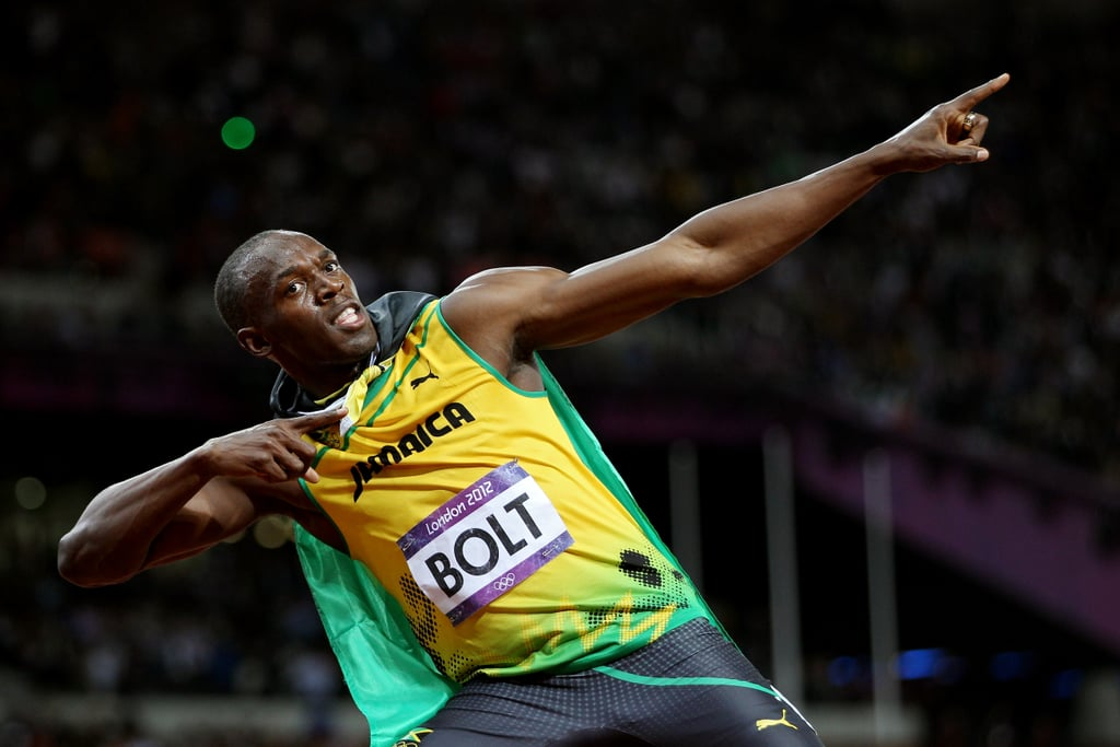 Jamaica's Usain Bolt posed after winning gold in the men's 100m final.