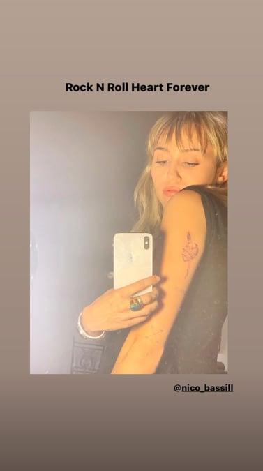 Miley Cyrus's Rock N Roll Heart Tattoo