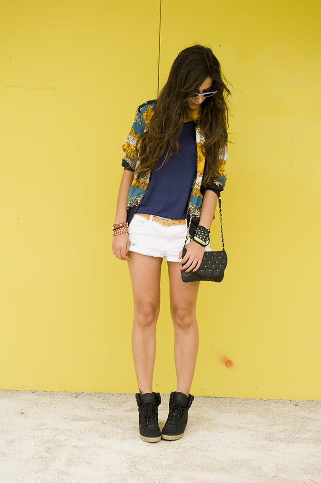 Work pops of color into your white cutoffs wardrobe. Photo courtesy of Lookbook.nu