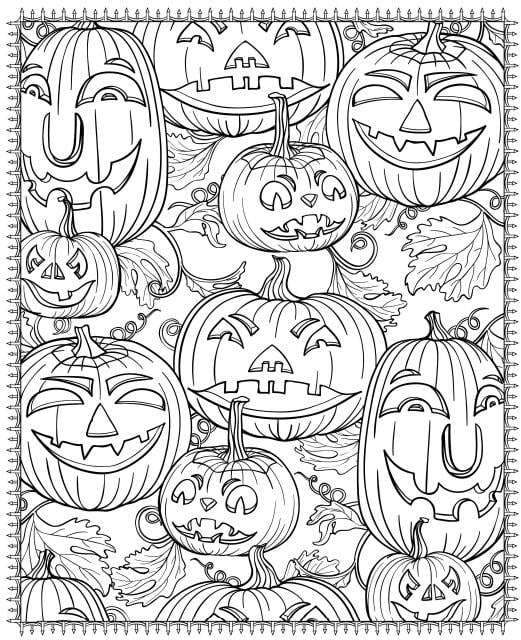 Halloween pumpkins coloring page for kids, printable free ... | 640x521