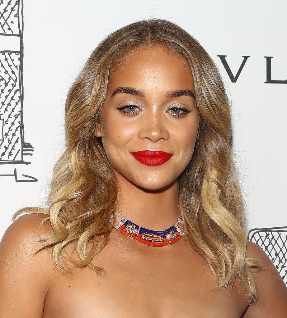 Jasmine Sanders With White Eye Shadow and Red Lips