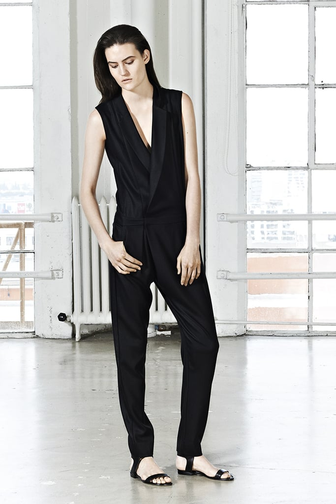 Every gal needs a black tuxedo-style jumpsuit in her closet. Wear it with flat sandals for day and with heels at night.