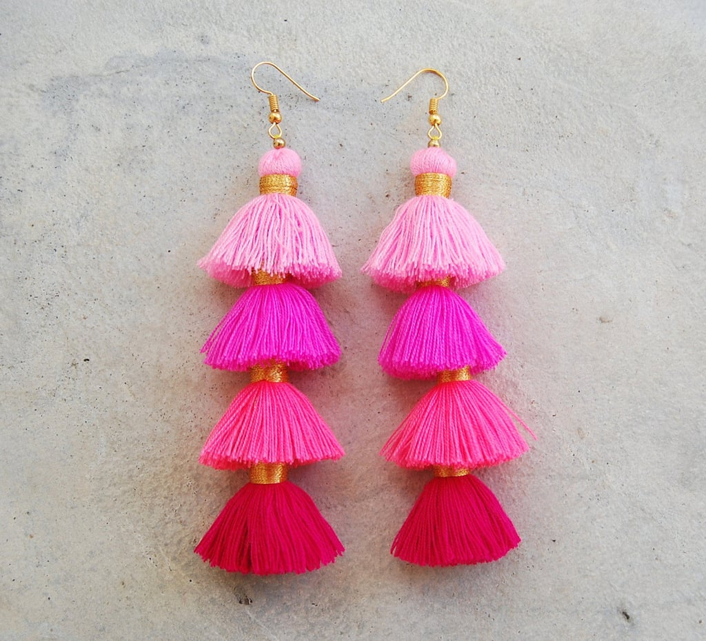 Four-Layered Ombre Pink Tassel Earrings