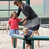 Jennifer Garner played with daughter Seraphina and her son, Samuel.