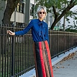 A Midi Skirt and Pussy-Bow Blouse in Unexpected Materials