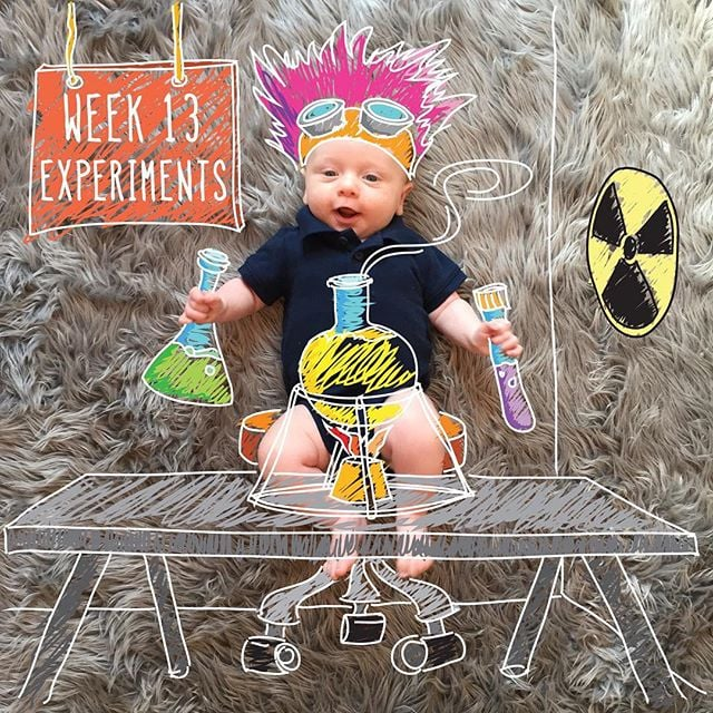 """""""How can I be a mad scientist when I'm always so happy? #13weeks"""""""