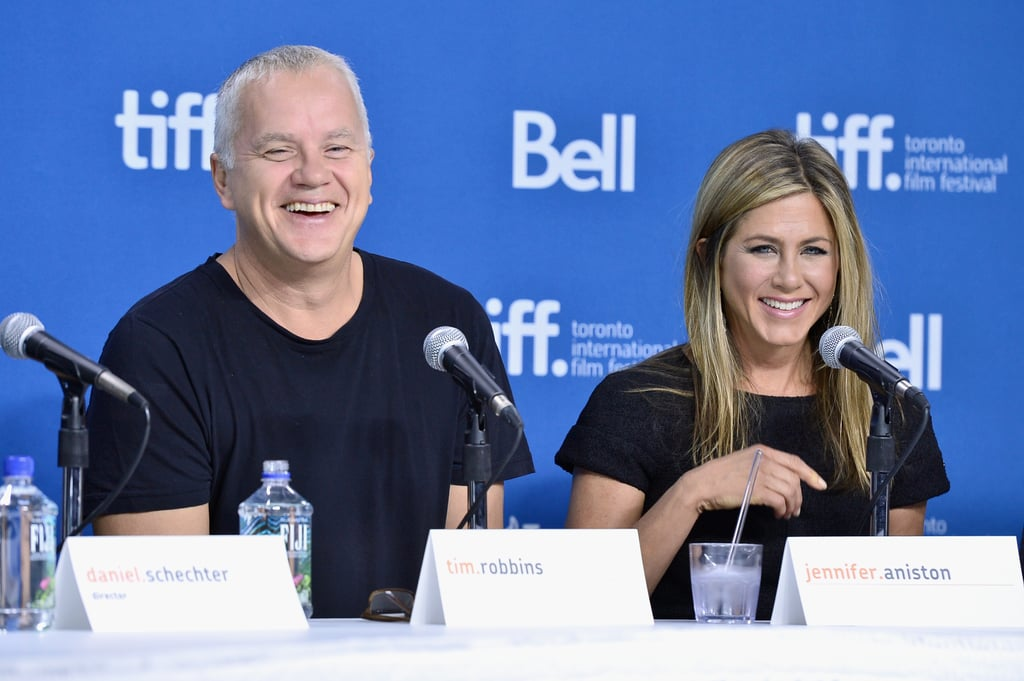 Jennifer Aniston had a laugh with costar Tim Robbins at the press conference for Life of Crime.