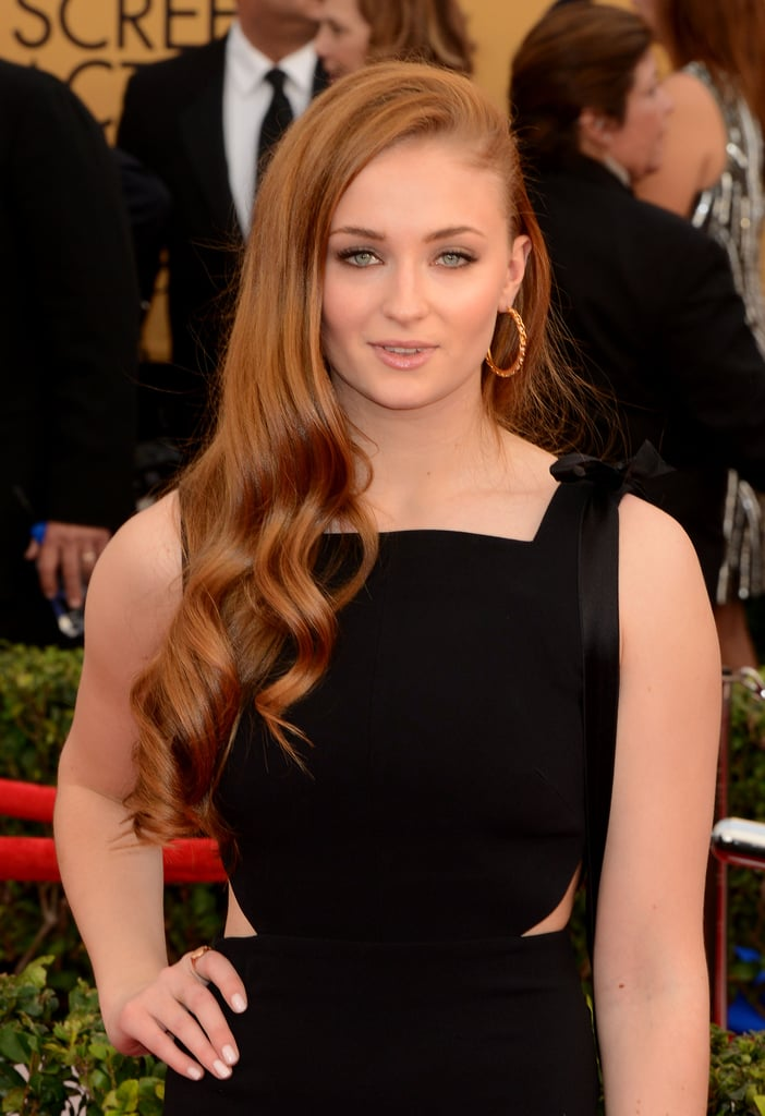 Sophie Turner's Curled Copper Hair, 2015