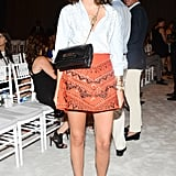 Leandra Medine opted for an embellished mini at the Marchesa show.