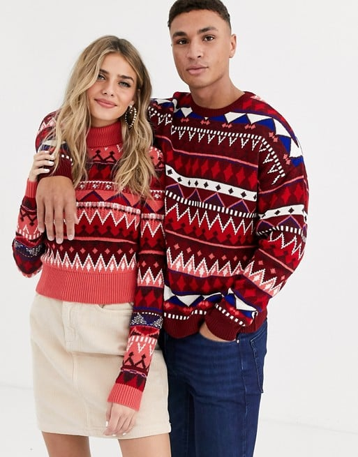 ASOS Design His & Hers Fairisle Roll Neck Jumper