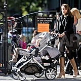Jessica Alba pushed her daughters around NYC in a double stroller.