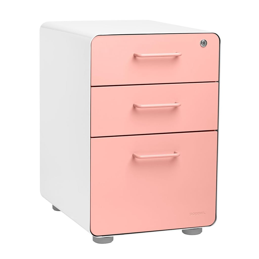 Poppin Blush Three-Drawer Stow Locking Filing Cabinet