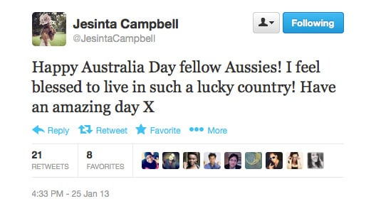 Jesinta Campbell spreads the Aussie love.