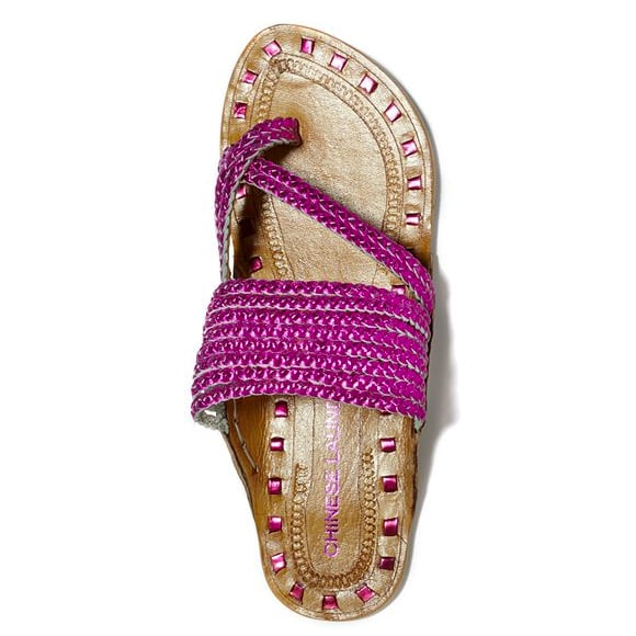 Festive and bohemian, these flats with braided metallic straps and a curved leather sole will add vibrancy to any springtime frock. Chinese Laundry Shoes, Rock Steady Flat Sandals in Pink ($59)