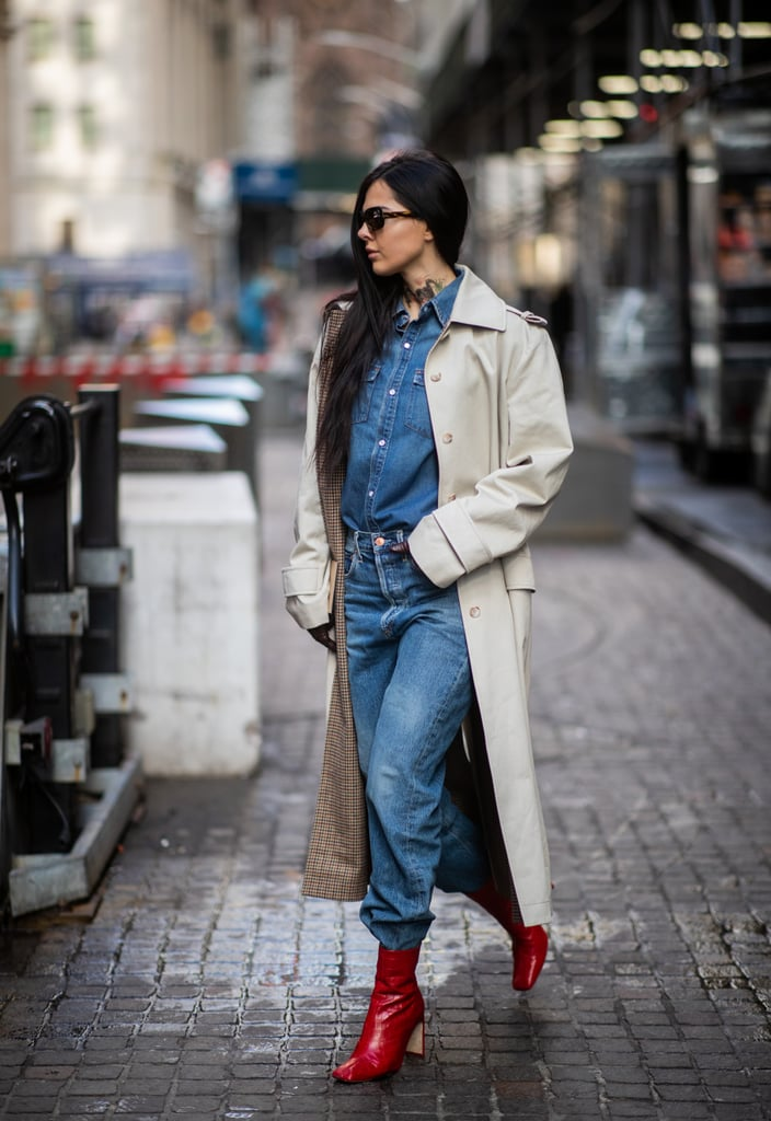 Red shoes look cool in contrast with head-to-toe blue jeans.