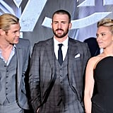 Pictured: Chris Hemsworth, Chris Evans, and Scarlett Johansson