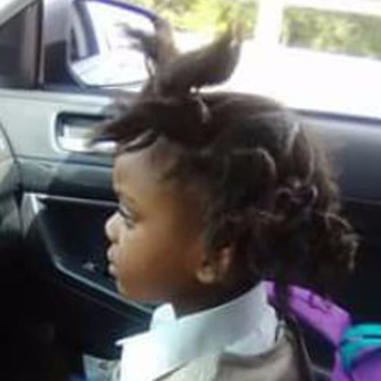 Kindergartener's Hair Before and After First Day of School