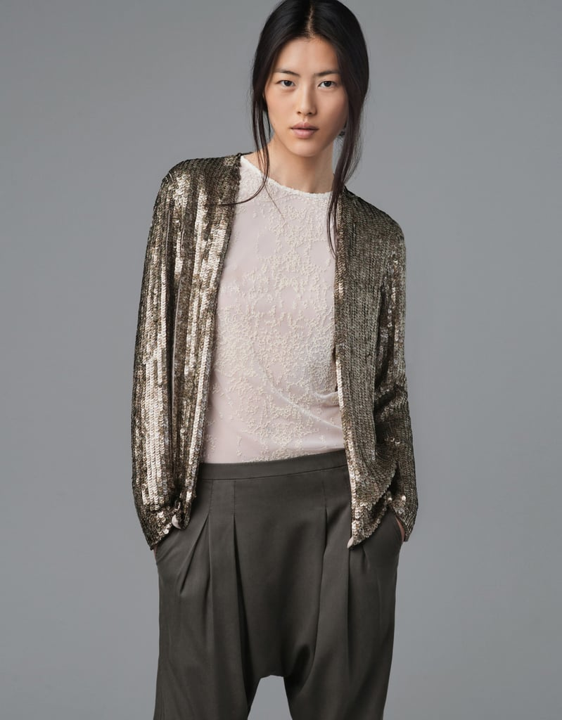 We love the slinky feel of this Zara Printed Sequin Cardigan ($189).