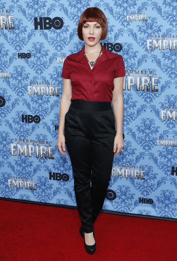 Erin Lynn Cummings looked lovely in a deep shade of red for the premiere party.